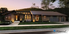 Contemporary House Plan 1327 The Mercer: 3296 Sqft, 3 Beds, Baths - Modern ranch style homes - Contemporary House Plans, Contemporary Style Homes, Modern House Design, Midcentury Modern House Plans, Ranch House Plans, House Floor Plans, Style At Home, Prairie Style Houses, Ranch Style Homes