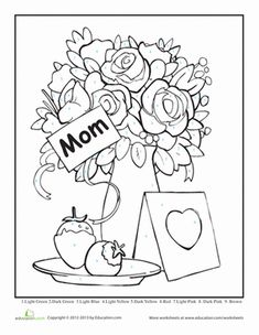 Mother's Day Kindergarten Color by Number Counting & Numbers Worksheets: Mother's Day Color by Number