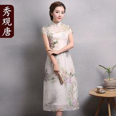 Pretty Floral Print Mid-calf Qipao Cheongsam Dress - Qipao Cheongsam & Dresses - Women
