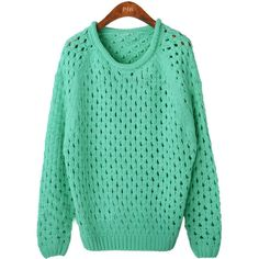 Green Round Neck Long Sleeve Hollow Pullovers Sweater ($45) ❤ liked on Polyvore