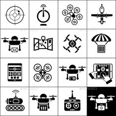 Drone Icons Black Vector EPS Camera Gadget O Available Here Graphicriver Item 11199613refpxcr