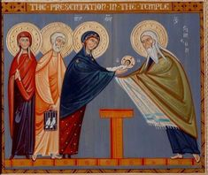 Presentation of Christ in the Temple - by Olga Shalamova Religious Icons, Religious Art, Temple, Byzantine Art, Infancy, Blessed Virgin Mary, Orthodox Icons, Bible Stories, Roman Catholic