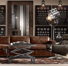 Industrial chic is very much a buzz phrase in home design today. It is certainly made popular by a lot of what Restoration Hardware has to o. Warm Industrial, Industrial Floor Lamps, Industrial Living, Industrial Furniture, Vintage Industrial, Industrial Design, Industrial Apartment, Vintage Modern, Industrial Style