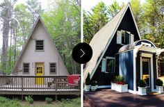 Top 20 Before & Afters of All Time: A-Frame Cottage Renovation – Design*Sponge Small House Living, Small House Design, Tiny House, A Frame Cabin, A Frame House, Style At Home, Triangle House, Beautiful Small Homes, Small House Exteriors