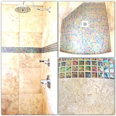 Collage of a brand new stand-up shower. Gorgeous soft porcelain paired with the blue metallic back-splash makes a huge statement.