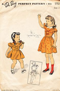 Vintage 1940s Girls' and Toddlers' Collared by daisyepochvintage, $9.00