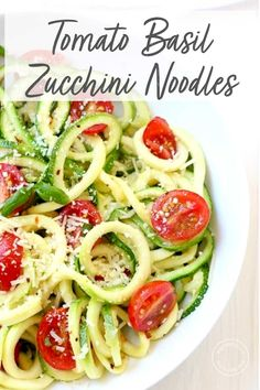 Zucchini Noodles with Tomato, Basil & Parmesan Fresh spiralized zucchini noodles topped with fresh tomatoes, basil and parmesan make the perfect summer meal! This easy recipe will help you eat your vegetables and use up those garden veggies! Zucchini Noodle Recipes, Zuchinni Recipes, Zoodle Recipes, Spiralizer Recipes, Veggie Recipes, Salad Recipes, Vegetarian Recipes, Cooking Recipes, Healthy Recipes