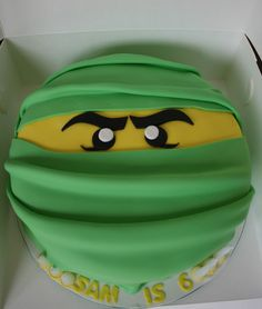 Baked By Design: Green Lego Ninja Head Cake Ninja Lego Cake, Ninja Birthday Cake, Lego Ninjago Cake, Ninjago Party, Superhero Cake, Happy Birthday, Pear And Almond Cake, Almond Cakes, Bolo Ninja