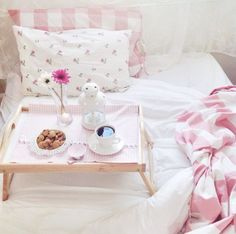 Every woman deserves breakfast in bed, and not just Mother's Day Brunch, Pretty Bedroom, Just Girly Things, Breakfast In Bed, Everything Pink, Color Rosa, Getting Cozy, My Room, Room Inspiration