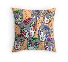 Catheads Rule with Orange Swirls Throw Pillow Swirls, Folk Art, Living Spaces, Throw Pillows, Texture, Blanket, Orange, Color, Design