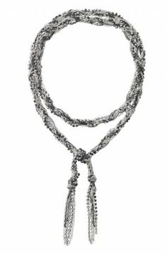 """Antiqued silver, black and rhinestone mixed chains hand braided to create a stunning lariat.          As seen on actress Melissa McCarthy!        Approximately 42 1/2"""" length.        Lead & nickel safe."""