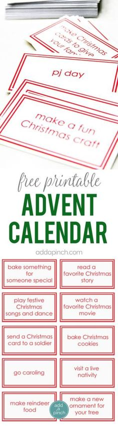 Free Printable Advent Calendar Cards - This Children's Advent Calendar Printable adds a bit of fun and memorable traditions to your Christmas. 30 children's advent calendar ideas and cards. // addapinch.com by darla