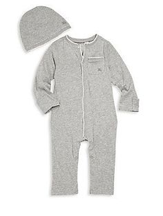 Burberry Baby's Trystan Heathered Two-Piece Coverall & Hat Set - G