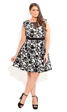 City Chic - FLOCKED FLORAL DRESS - Women's plus size fashion
