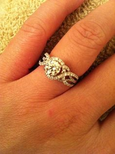 Engagement ring with intricate band