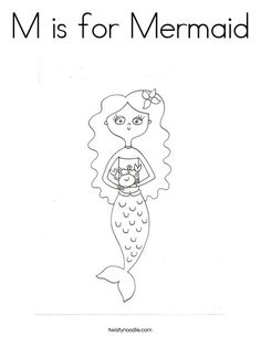 M is for Mermaid Coloring Page - Twisty Noodle