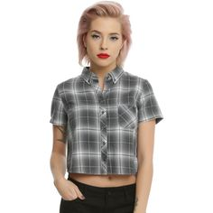 Hot Topic Grey Plaid Crop Short Sleeve Girls Woven ($24) ❤ liked on Polyvore featuring tops, crop tops, hot topic, gray crop top, plaid crop top, cut-out crop tops and gray top