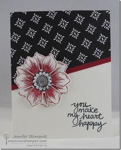 handmade card by Northwest Stamper ... Jennifer Blomquist  ... black and white with burgundy ... sweet sentiment ... Stampin' Up!