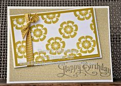"""Stampin' Up! 3/8"""" stitched satin ribbon, Betsy's Blossoms and Perfectly Penned in Summer Starfruit"""