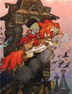 """Сказка """"Сивка-бурка"""" http://russkaja-skazka.ru/sivka-burka/ Приезжают его братья, рассказывают, где были и что видели. — Были хороши молодцы, а один лучше всех — С разлету на коне царевну в уста поцеловал. Видели, откуда приехал, а не видели, куда уехал. сказки #картинки #СивкаБурка #art #Russia #Россия #добро #дети #иллюстрации #paint #картины #художник #RussianFairyTales @russkajaskazka"""