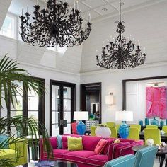 This IS my future home design! A very traditional arrangement of very traditional furniture that just happens to be done in neon brights. It has an urban, pop art feel. Contemporary living room by John David Edison Interior Design Inc. Living Room Designs, Living Spaces, Living Rooms, Living Area, Condo Living, Cottage Living, Country Living, What's My Favorite Color, Decoration Inspiration