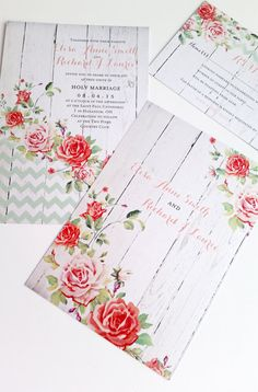 Shabby Chic Wedding Invitations - Rustic Wood wedding invitations sample…