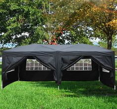 6mx3m Garden Heavy Duty Pop Up Gazebo Marquee Party Tent Wedding Canopy Black