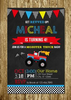 Monster Truck Blue Red Yellow Chalkboard Personalized Printable Digital Birthday Invitations + FREE Thank You Card Monster Truck Birthday, Monster Party, Monster Trucks, Blue Birthday Parties, Boy Birthday, Birthday Ideas, Birthday Party Invitations Free, Photo Invitations, Ludo