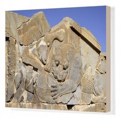 "Canvas Print-Apadana, Palace of Darius, Lion and bull combat-20""x16"" Box Canvas Print made in the USA"