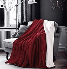 HoroM Soft Cozy Fluffy and Warm Sherpa Blanket Wine Red Throw Blankets for Bed or Couch Couch Blanket, Red Blanket, Fuzzy Blanket, Couch Throws, Couch Pillows, Fluffy Blankets, Fluffy Pillows, Cozy Blankets, Deep Couch