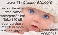 Mother's Day Special @ The Cocoon Co. www.TheCocoonCo.com #waterproofbibs #antimicrobialbibs #mothersdayspecial