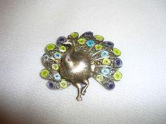 Vintage Sterling 800 Filigree Enamel Peacock Brooch Pin | eBay