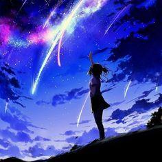 grafika anime, kimi no na wa, and night
