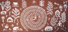 Harvest dance - Jivya Soma Mashe 20th century, Warli people, India, 124 x 72cm   Rice paint, Cowdung and mud on cotton