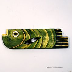 Painted Wood Fish Green and Gold Folk Art by TaylorArts on Etsy, $110.00