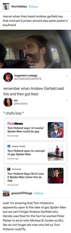 Marvel when they heard andrew garfieid say that michael bjordan should play peter parker's boyfriend remember when Andrew Garfield said this and then got fired chefs kiss mmm Tom Holland says 'of course' Spider-Man could be gay B hours ago - iFunny :) Marvel Funny, Marvel Memes, Marvel Dc Comics, Tom Holland, Living Under A Rock, Spideypool, Superfamily, Andrew Garfield, Dc Memes