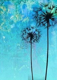 digital created illustration with dandelion flower silhouette Stock Photo