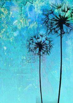 digital created illustration with dandelion flower silhouette Stock Photo