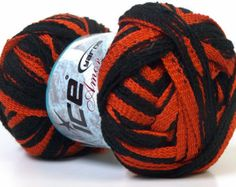 ruffled harley scarf | ... Orange Scarf Yarn 1 skein - Harley Davidson Colors - hard to find