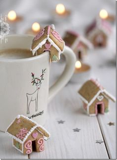 Mini Gingerbread Houses on Cups :: makes beautiful, inexpensive Xmas gift in pretty packaging.