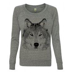 Womens Wolf Animal Dog Husky Boho Screen Print Top Retro Long Sleeve... ($30) ❤ liked on Polyvore