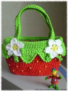Strawberry crochet purse ♥LCB-MRS♥ with diagram