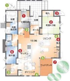 すくすくプロジェクト :: 子育てに理想の家「すくすく」プロジェクト :: 収納と動線を考えた「子育てに理想の家」 :: ライフスタイル別 こだわりの家づくり :: みどり建設株式会社「みどりと風工房」エアサイクルの家 | 福井県福井市 House Layout Design, Home Room Design, House Layouts, Folding Architecture, Japanese Architecture, New House Plans, House Floor Plans, Craftsman Floor Plans, Small Floor Plans