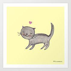 Soft Black Cat Art Print by Lady Lucas - $20.00