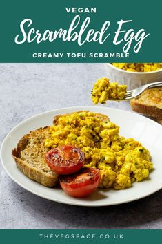 Creamy Vegan Scrambled Eggs - made from crumbled tofu - delicious and filling, perfect for a vegan breakfast or brunch #vegan #TheVegSpace Scrambled Tofu Recipe, Scrambled Eggs, Savory Breakfast, Breakfast Tacos, Breakfast Ideas, Roasted Cherry Tomatoes, Grilled Tomatoes, Tofu Scramble, Vegan Meal Plans