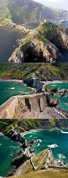 This beautiful staircase walk is located on the island Gaztelugatxe in Spain. San Juan de Gaztelugatxe is a tiny islet on the coast of Biscay belonging to the municipality of Bermeo, in Basque Country (Spain) Oh The Places You'll Go, Places To Travel, Travel Destinations, Places To Visit, Reisen In Europa, Voyage Europe, Basque Country, Photos Voyages, Spain And Portugal