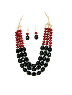 Black & Red Beaded Necklace Set by JewelsCollective on Etsy