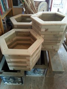 Set of 3 hexagonal planters made from reclaimed construction waste wood