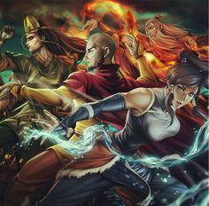 Avatar Roku, Kyoshi, Aang and Korra