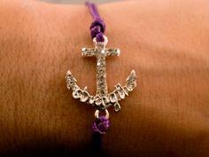 Anchor Charm Bracelet Silver Rhinestone Anchor by CraftsbyBrittany